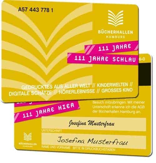 Bibliotheksausweise drucken Bücherhallen gold