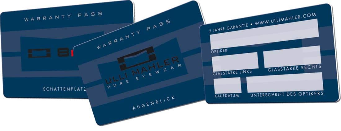Duennplastikkarten Garantiekarten